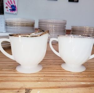 Fire King white swirl with Gold trim creamer/sugar